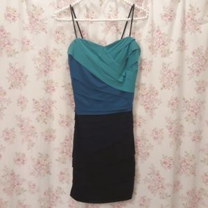 City Triangles Strapless Navy Blue Ombre Dress